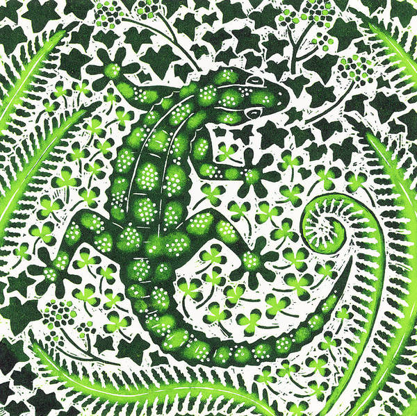 Woodcut Wall Art - Painting - Green Gecko by Nat Morley