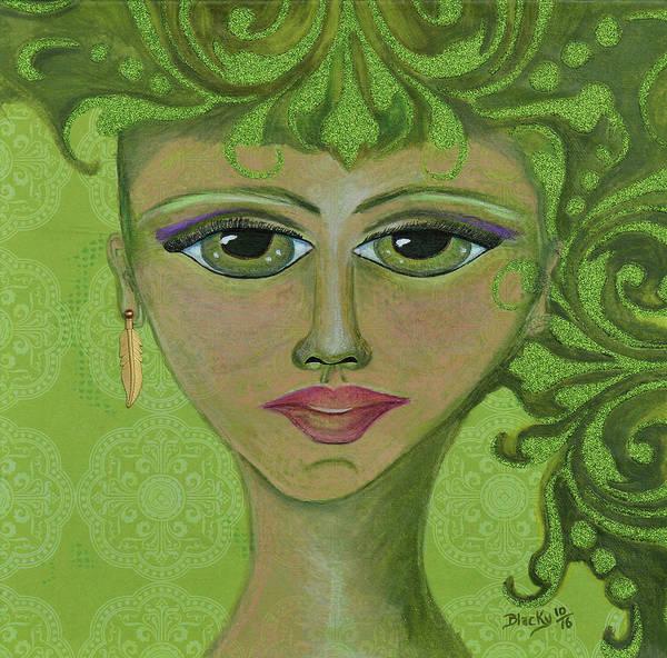 Genie Painting - Green Genie by Donna Blackhall