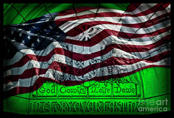 Wall Art - Photograph - Green God Country Notre Dame Red White Blue American Flag by John Stephens