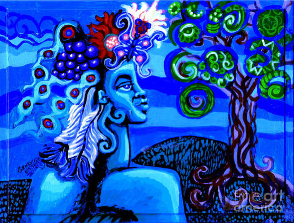 Wall Art - Painting - Green Goddess With Tree by Genevieve Esson