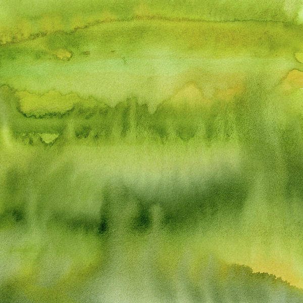 Wall Art - Painting - Green Gold Forest Abstract Watercolor by Olga Shvartsur