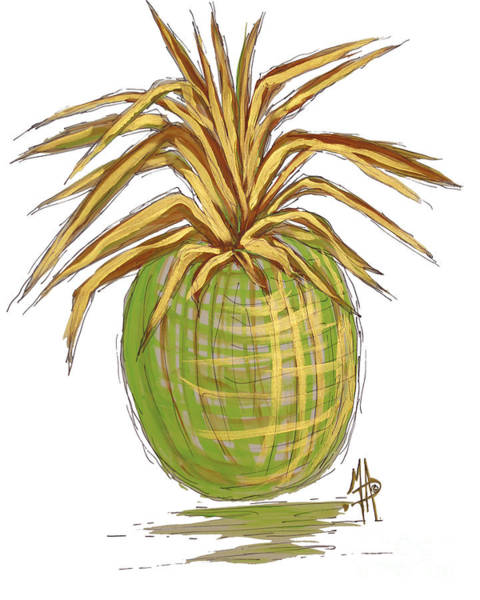 Pineapple Painting - Green Gold Pineapple Painting Illustration Aroon Melane 2015 Collection By Madart by Megan Duncanson