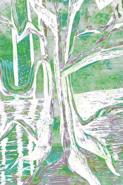Painting - Green-grey Misty Morning River Tree by Gecko Joy