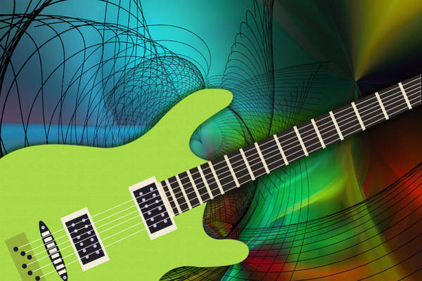 Digital Art - Green Guitar by Ericamaxine Price