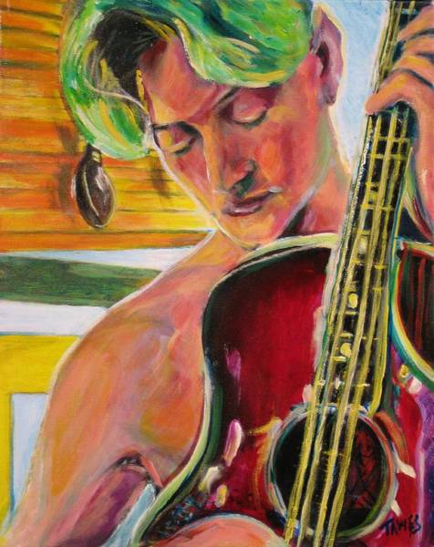 Painting - Green Hair Red Bass by Dennis Tawes