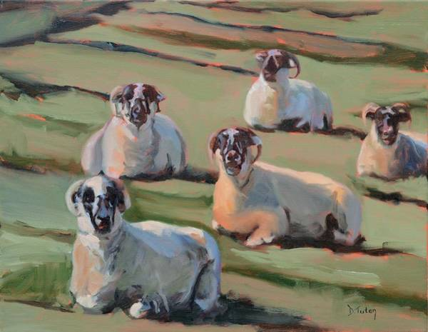 Painting - Green Hill Sheep At Rest by Donna Tuten