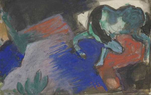 The Blue Rider Wall Art - Painting - Green Horse In Landscape by Franz Marc
