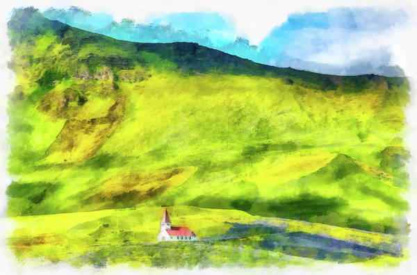Painting - Green Iceland Aquarell Painting Vik Church And Green Hills by Matthias Hauser