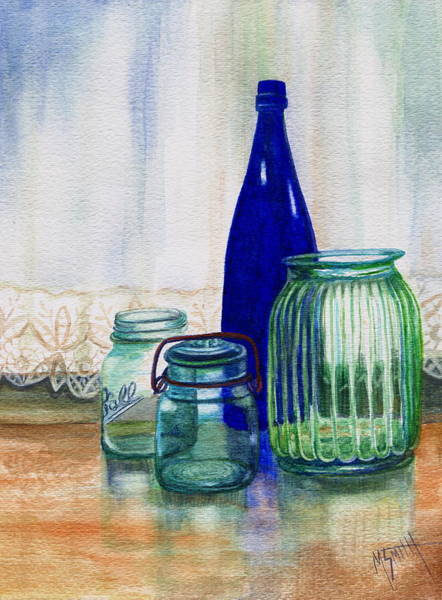Lid Painting - Green Jars Still Life by Marilyn Smith