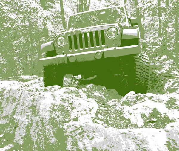 Photograph - Green Jeep Jk Rock Ledge by Luke Moore