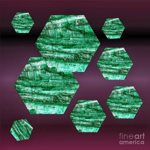 Mixed Media -  Green Kyanite Hexagonal  by Rachel Hannah