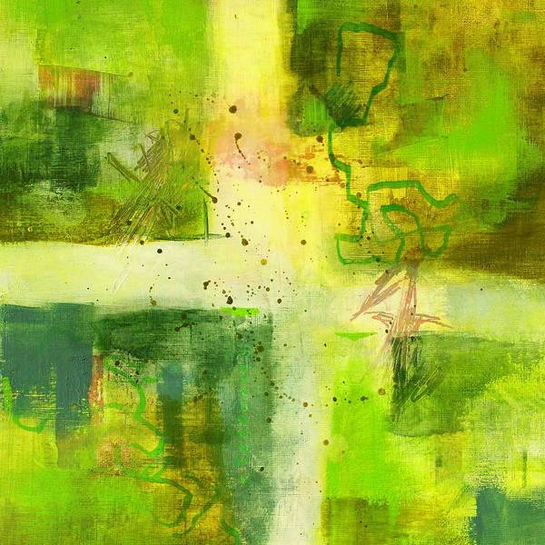 Dark Olive Green Wall Art - Painting - Green Light Abstract by Nancy Merkle