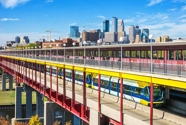 Minneapolis Photograph - Green Line Light Rail In Minneapolis by Jim Hughes