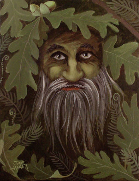 11x14 Painting - Green Man Painting by Jaime Haney