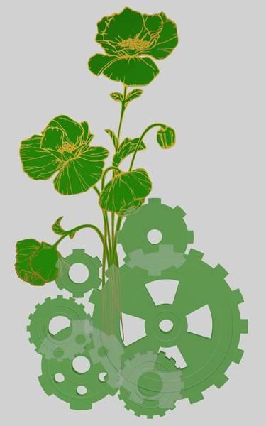 Digital Art - Green Mechanical Flowers by Alberto RuiZ