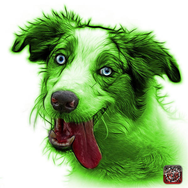 Painting - Green Merle Australian Shepherd - 2136 - Wb by James Ahn