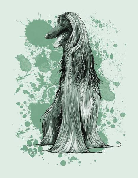 Hound Drawing - Green Paint Splatter Afghan Hound by John LaFree