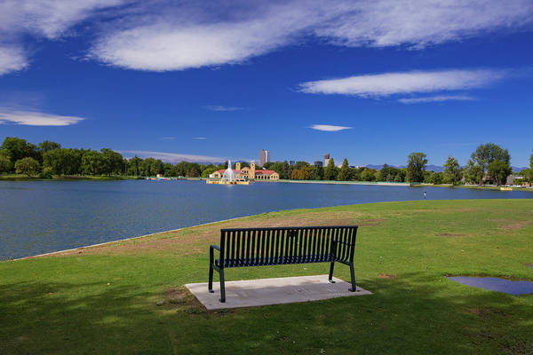 Wall Art - Photograph - Green Park Bench And Mountain Wave Clouds At Ferrill Lake In Denver's City Park by Bridget Calip