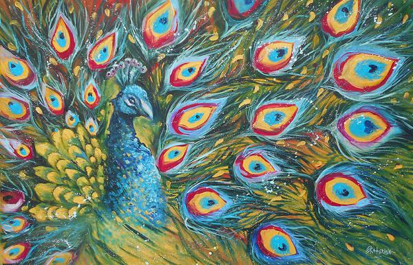 Painting - Green Peakock by Ekaterina Chernova