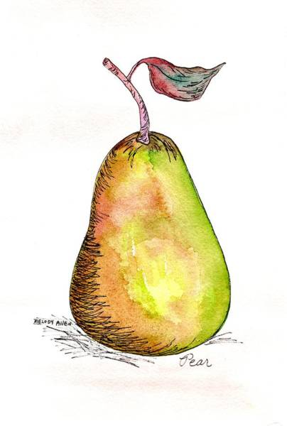 Wall Art - Painting - Green Pear by Melody Allen