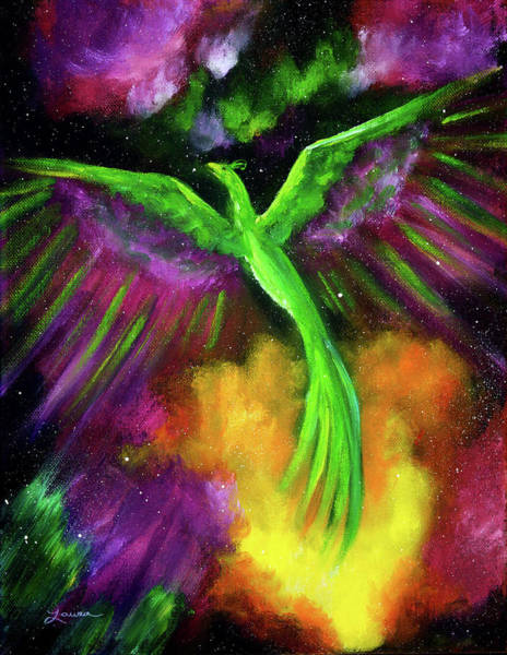 Wall Art - Painting - Green Phoenix In Bright Cosmos by Laura Iverson