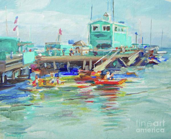 Painting - Green Pier On A Summer Da by Joan Coffey