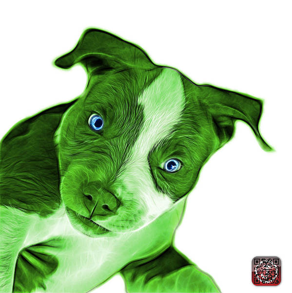 Painting - Green Pitbull Dog Art 7435 - Wb by James Ahn