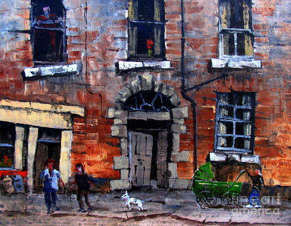 Painting - F 718  Green Pram In The Liberties.. by Val Byrne