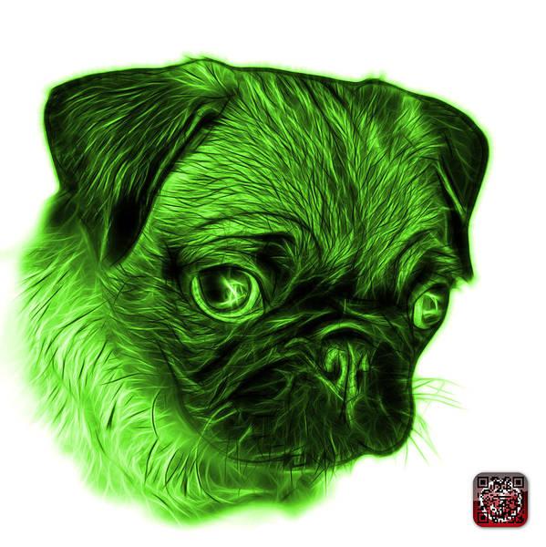 Digital Art - Green Pug -  9567 Fs W by James Ahn