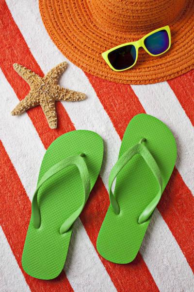 Flip Flops Photograph - Green Sandals On Beach Towel by Garry Gay