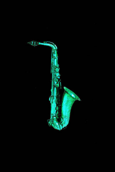 Painting - Green Saxophone by Tony Rubino
