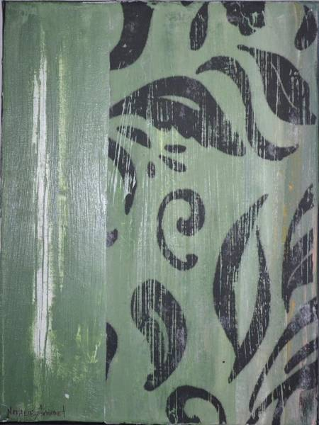 Avondet Wall Art - Mixed Media - Green Scroll II by Natalie Avondet