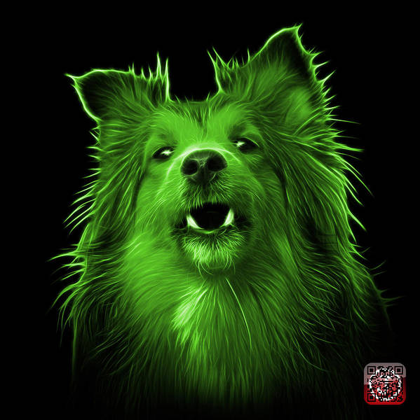 Painting - Green Sheltie Dog Art 0207 - Bb by James Ahn