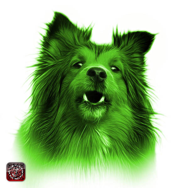 Painting - Green Sheltie Dog Art 0207 - Wb by James Ahn