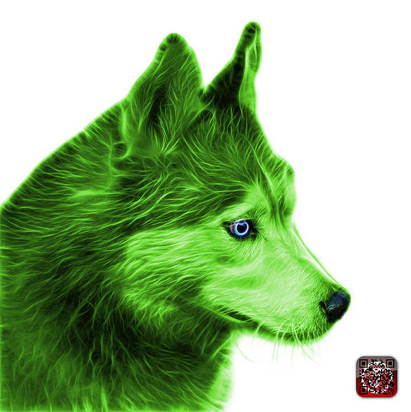Painting - Green Siberian Husky Art - 6048 - Wb by James Ahn