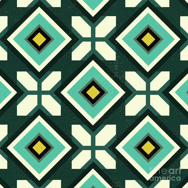 Diagonal Digital Art - Green Spanish Tile by Andrew Watson