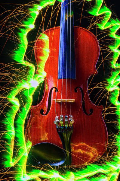 Frets Photograph - Green Sparks And Violin by Garry Gay