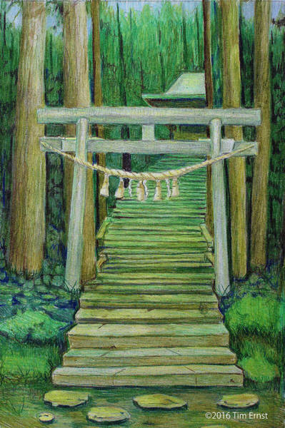 Drawing - Green Stairway by Tim Ernst