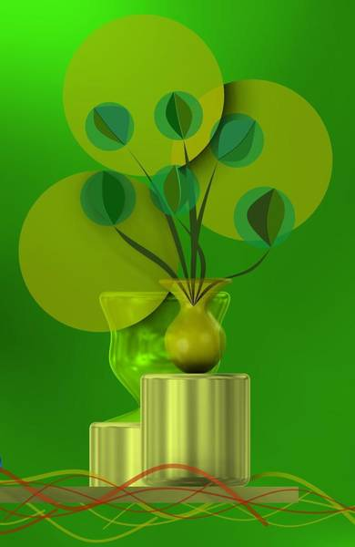 Green Still Life With Abstract Flowers, Art Print