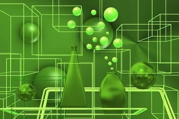 Digital Art - Green Still Life With Freen Bubbles by Alberto RuiZ