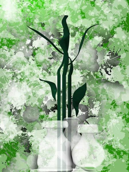 Digital Art - Green Still Life With White Vases by Alberto RuiZ