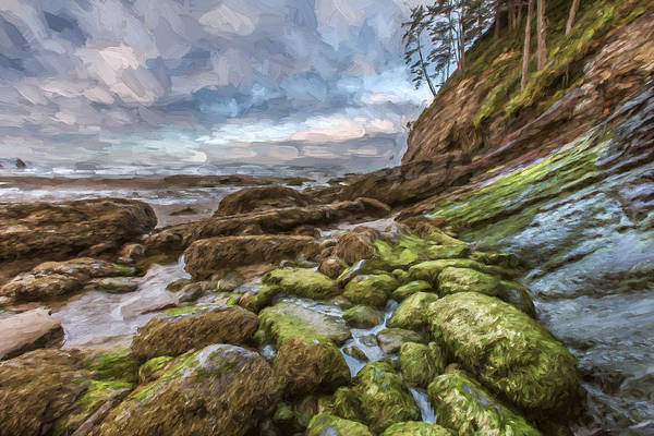 Beautiful Sunrise Digital Art - Green Stone Shore II by Jon Glaser