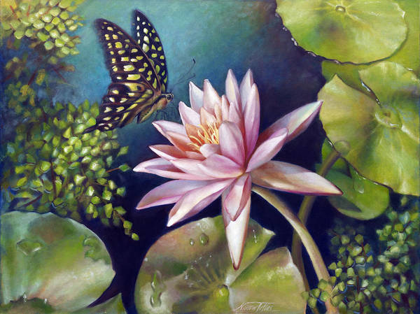 Wall Art - Painting - Green Tailed Jay Butterfly And Water Lily by Nancy Tilles