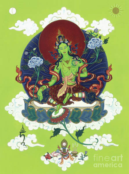 Lotus Seed Wall Art - Painting - Green Tara by Carmen Mensink