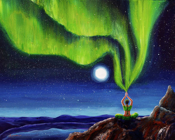 Tibetan Wall Art - Painting - Green Tara Creating The Aurora Borealis by Laura Iverson