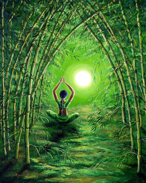 Tibetan Wall Art - Painting - Green Tara In The Hall Of Bamboo by Laura Iverson