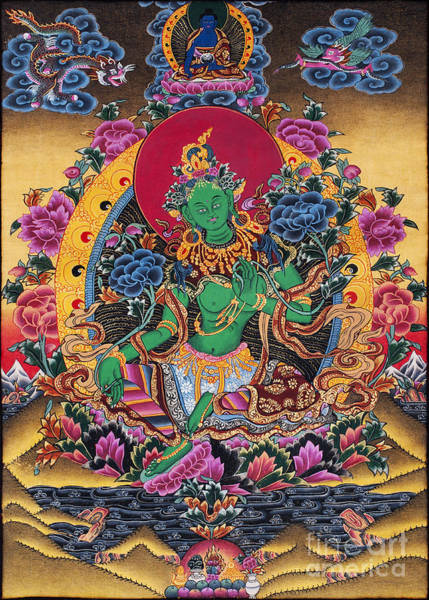 Photograph - Green Tara Thangka by Tim Gainey