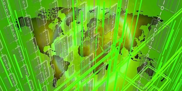Digital Art - Green Tech Worldmap by Alberto RuiZ