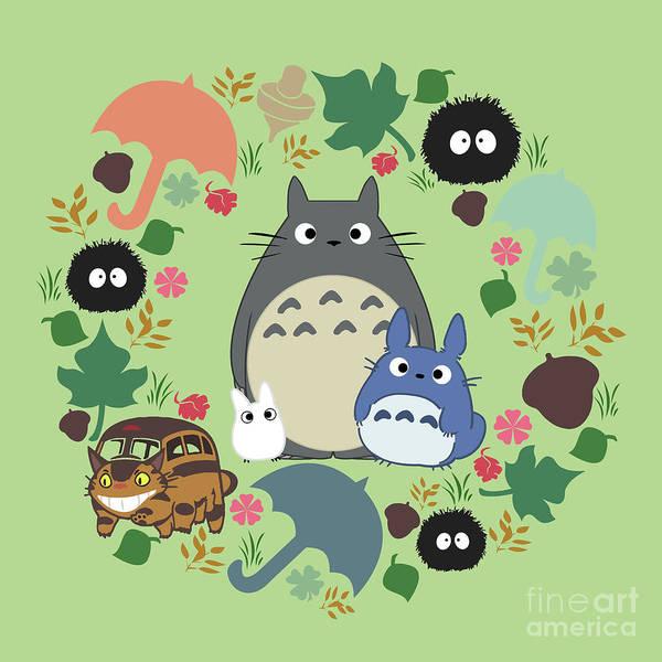 Totoro Digital Art - Green Totoro Wreath by Canis Picta