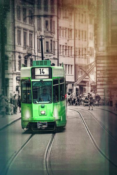 Trolley Car Wall Art - Photograph - Green Tram In Basel Switzerland by Carol Japp
